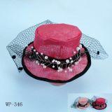 Chapeau rouge de maille, ornement de cheveux, accessoire (Wp-346)