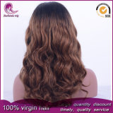 2t Brown Onda Natural cheio de cabelo Virgem Brasileira Lace Peruca