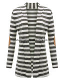 Neue Form-Herbst-Oberbekleidung-Frauen-lange Hülse Striped gedruckte Wolljacke-beiläufiges Krümmer-Patchwork gestrickte Strickjacke