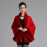 Lady acrylique Fausse Fourrure tricotés garniture châle de mode d'hiver (YKY4475)