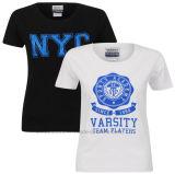 OEMの方法女性女の子の女性の綿のVasity NycのTシャツ