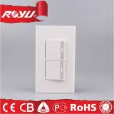 Interruptor elétrico da tecla da potência da parede do agregado familiar de 2 maneiras