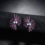 Pendiente negro cristalino púrpura accesorio de la perla de la alineada nupcial de la joyería de la manera