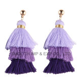 Women를 위한 새로운 Fashion Three Layer Elegant Pompom Tassel Earring