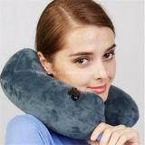 En forma de U Viajes cuello almohada inflable Almohada de viaje para el coche