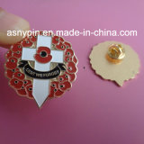 Pin отворотом конструкции цветка мака эмали UK значка Pin мака мягкий