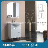Fußboden-stehender Glanz-Farbanstrich-Badezimmer-Schrank mit Spiegel Sw-Y750ws
