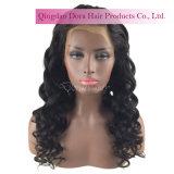Cabelo real da peruca ondulada indiana por atacado do laço do cabelo humano de Remy