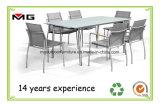 Mesa de comedor exterior de acero inoxidable con tapa de cristal