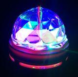 E27 che gira indicatore luminoso di cristallo cambiante della discoteca della fase di colore della lampadina del partito dello stroboscopio del LED il multi