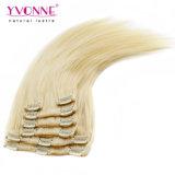 Productos para el cabello humano de Remy del indio del clip en la extensión del pelo
