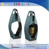 Lujo personalizado directo de fábrica de cuero de PU Pantalla de cristal de vino de caja (5073)