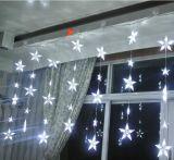 별 끈 빛 구리 철사가 Windows 훈장 LED 고드름에 의하여 LED 점화한다