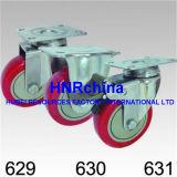 Roter PU-Schritt-Rad-Schwenker-Schraubverschluss- Fußrolle