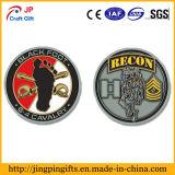 Antiguo metalizado de chapa militar moneda desafío con logotipo personalizado