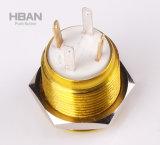 Interruptor leve personalizado do anel do diodo emissor de luz de Alluminum 16mm do amarelo da cor de corpo