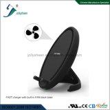 Chargeur sans fil du modèle le plus neuf avec le petit ventilateur, Chaleur-Rayonnement de haute performance, ce de vente chaud de remplissage rapide de base antidérapante noire normale de bride de Qi, RoHS, FCC