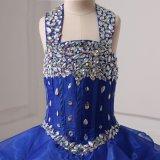 2018 reale Abbildung-königliches Blau-Kugel-Organza-Blumen-Mädchen-Kleider
