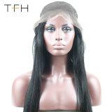 Full Lace Cabelo humano Perucas com bebé glueless de cabelo Full Lace Perucas para as mulheres 7Uma Brasileira Cabeleiras Reta preta natural 130%Densidade (TFH18)