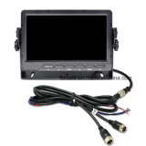 1080P Ahd retrovisores con cable Monitor LCD de 7 pulgadas con 2 canales de entrada de vídeo