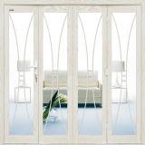 Design europeu francês de alumínio cor de impressão de madeira com porta de vidro transparente