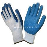 """Синий """"мятым"""" эффектом с покрытием из латекса белый хлопок 10 указатели безопасности рабочие перчатки"""