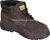 ゴム製足底が付いているブラウンカラースエードの革安全靴