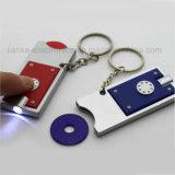 Fördernde blinkendes Licht-Münze Keychain des Zoll-LED mit dem Firmenzeichen gedruckt (4067)