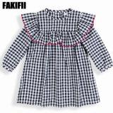 100% coton Enfants Vêtements Vêtement pour bébé fille robe de Plaid Vêtements d'hiver