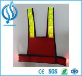 Roupa reflexiva verde da segurança da luz de piscamento do diodo emissor de luz da fluorescência