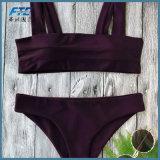 Frauen Plain Farben-Form-Bikini-Badebekleidungs-Badeanzug
