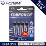 1.5V中国の工場亜鉛カーボン電池の卸売価格(R6-AA 6PCS)