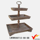 Vintage Brown 3 Tier Star Shape Wood Tray