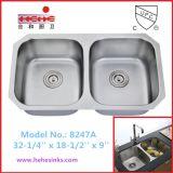 Venta caliente 50/50 fregadero de cocina doble del tazón de fuente (8247)