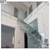 syndicat de prix ferme en verre de balustrade de Frameless durci par espace libre inférieur de fer de 8-12mm clôturant la glace