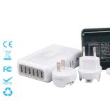 6 ports chargeur de voyage Chargeur Portable bouchons interchangeables chargeur 5V=8A