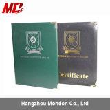 Certificat de diplôme de diplôme personnalisé de diplôme de PU avec quatre coins d'or - Style de livre
