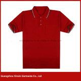 Magliette rosse di polo del cotone di alta qualità degli uomini su ordine (P171)