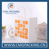 Weißes Kraftpapier Paper Bag mit Paper Twist Handle (CMG-MAY-013)