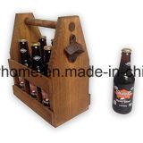 Handcrafted hölzerner Bier-Träger für den 6 Flaschen-Satz