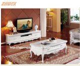 純木TVのキャビネットの大理石のテーブルの上ヨーロッパの切り分けるTVのキャビネットの茶表の大理石