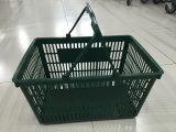 Panier de plastique d'achats de traitement de double de supermarché