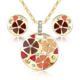 円形の吊り下げ式のネックレスのエナメルの人工的なCustumeの宝石類セット