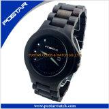 Montre du bois noire de cru pour les hommes avec la montre personnalisée