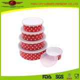Ensemble de bol à salade rouge rouge Volor 5PCS avec couvercle en plastique