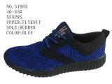 De blauwe Vlieg van Kleuren breit de Toevallige Schoenen van Mensen