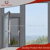 Color gris aluminio salto térmico Casement Ventana con pantalla