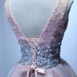 Robe de cocktail rose de bal d'étudiants de collet du Sequin V