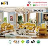 Mobiliário clássico europeu Genuinr 1+2+3 sofá de couro (HC828)