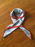 Weicher u. glatterer Silk Habotai gedruckter quadratischer Schal (Hz67)
